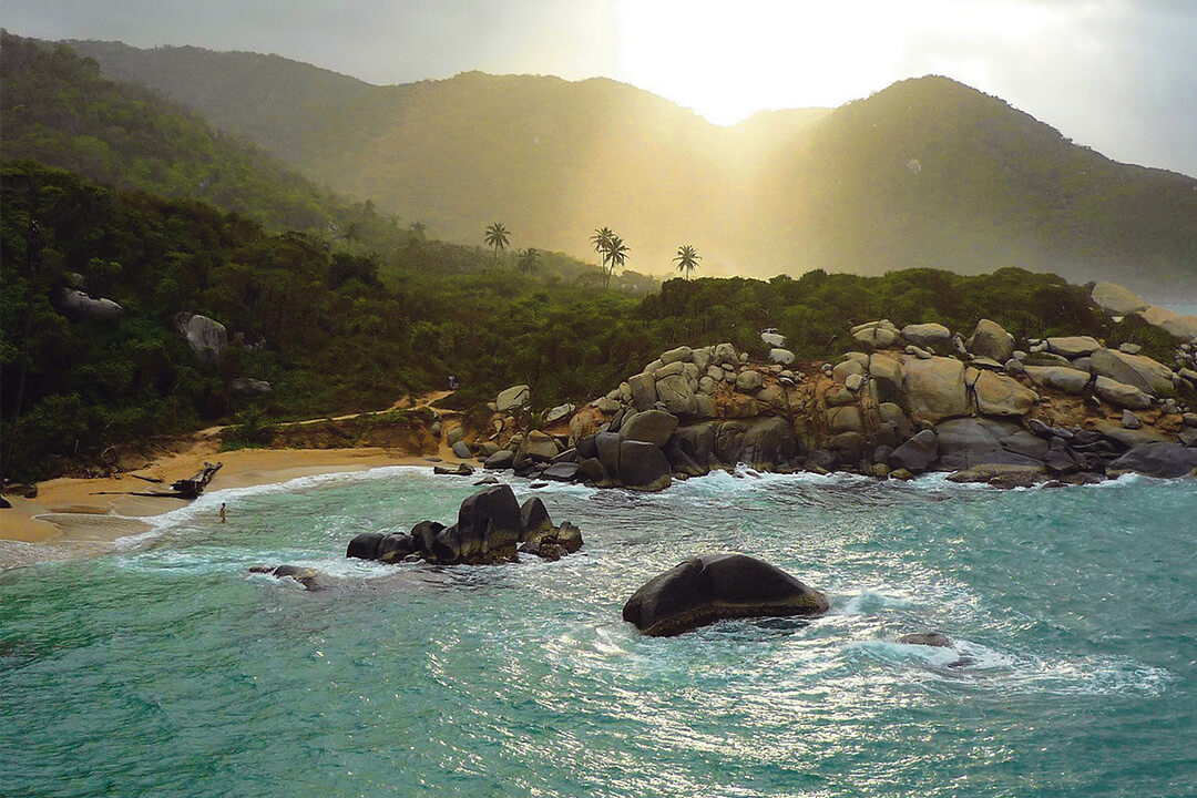 Tayrona Park seen from the sky