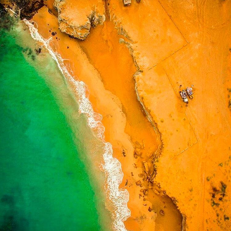 Playa vista desde un drone