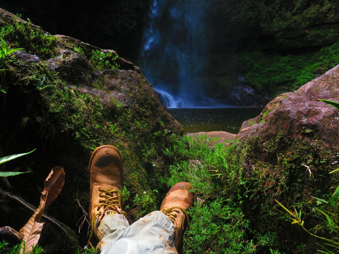 Sitting appreciating the waterfall of Hornoyaco