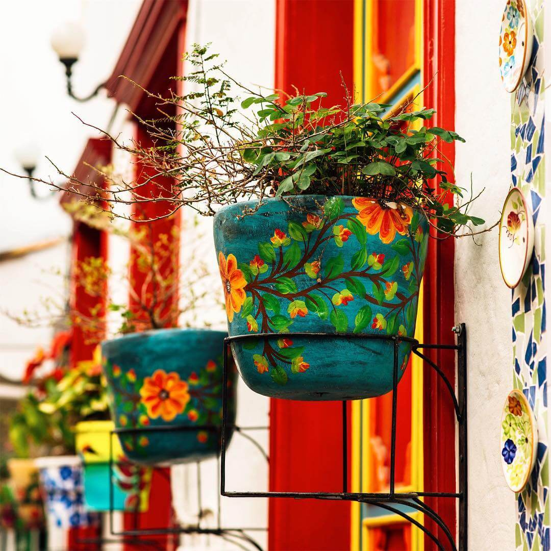 Pots in balcony of the town paisa