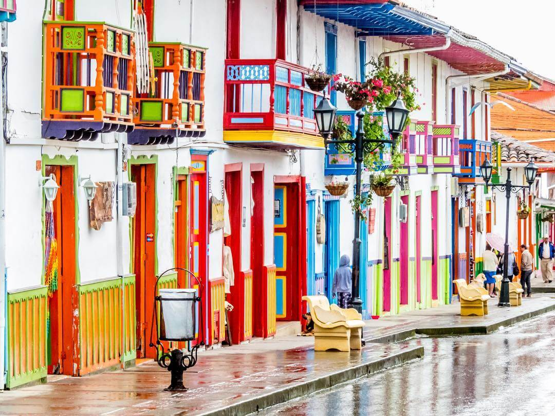 Colorful street of Salento in Colombia