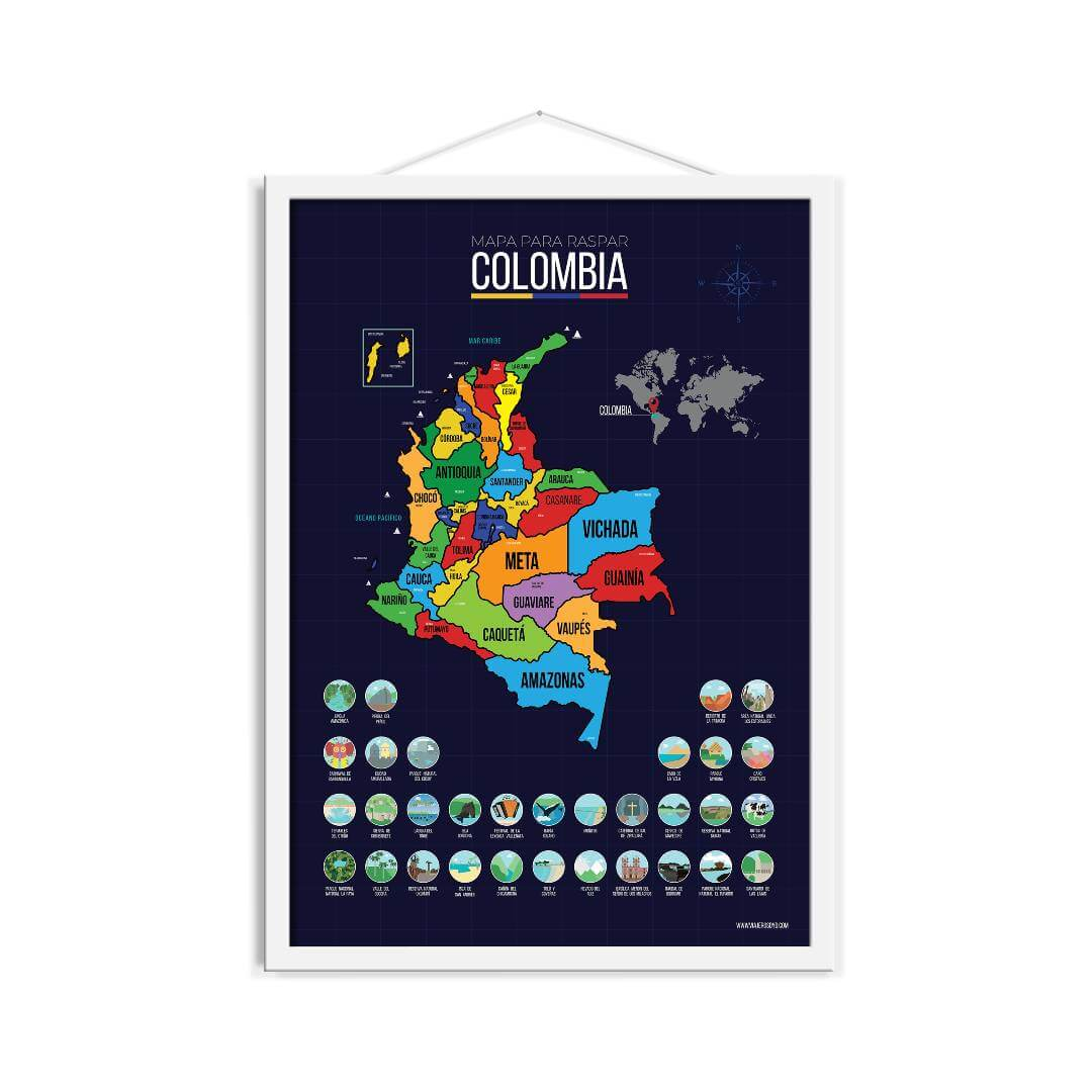 Mapa para raspar de Colombia
